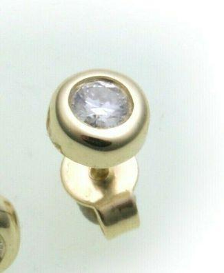 Herren Ohrringe Stecker echt Gold 585 Brillant Diamant 0,01 ct Gelbgold 14 karat