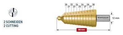 CBN geschliffen • 2 Schneiden 20-30 mm HSS-XE Stufenbohrer