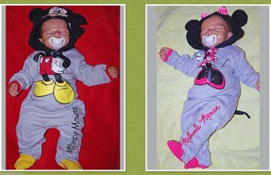 62 68 80 NEU Disney Mickey Mouse Minnie Overall Wagenanzug Anzug Strampler Gr