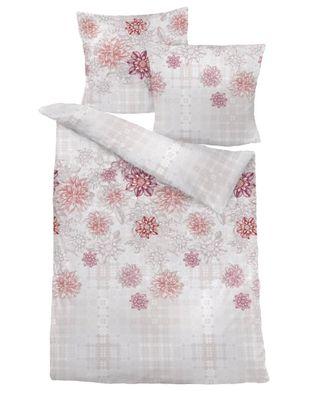 Satin Bettwäsche Blütentraum Blüten Blumen Schmetterling Weiß Lila Rosa 135x200