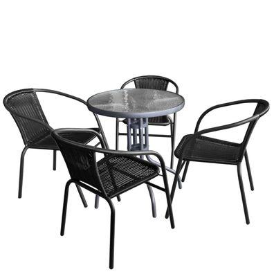 4tlg Gartenmöbel Garnitur Glastisch 60x60cm 3x Polyrattan Stapelstuhl Schwarz