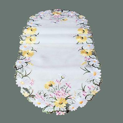 """Tischläufer sand Stickerei /""""Blumen/"""" 30//70 cm oval"""