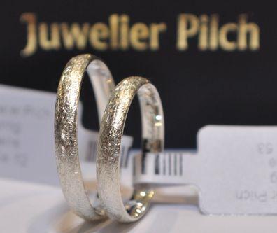 1 Paar Trauringe Gold 333 mit Diamant Verschiedene Breiten 3 bis 8mm Bicolor