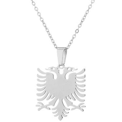 Albanien Albania Silber feine Kette Anhänger Adler Doppelkopf