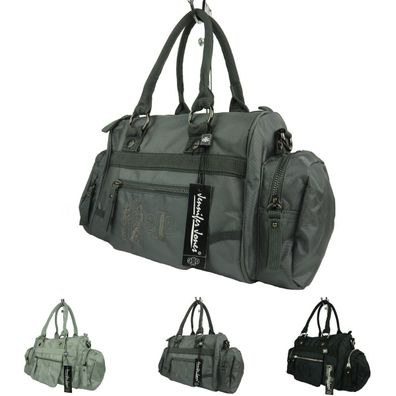 große Damen Handtasche Umhängetasche uni pastell Fächer elegant Tasche LY3472