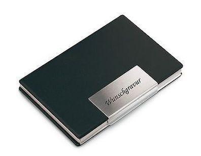 Trendiges Visitenkartenetui Visitenkartenbox mit Gravur   graviert Aluminium