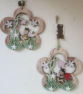 Formano Deko Mini Laterne silber grün Hänger Blume LED Frühling Sommer