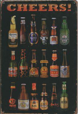 "Retro Blechschild /""Bier/"" Beer Diner Bar Kneipe Pub Shots 33x25cm Neu"