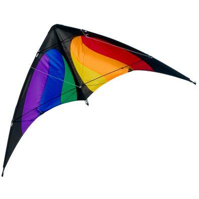 CIM Lenkdrachen Power Hawk Rainbow Drachen 155cmx75cm inkl Steuerleinen