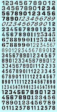 Startnummern Zahlen weiss Start Numbers white 6,5-9,0 mm 1:43 Decal Abziehbilder
