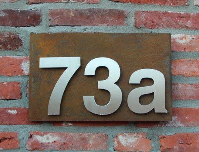 Cortenstahl Hausnummern Hausnummernschild Edelstahl Ziffern Schild Werbeschild