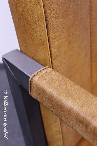 Vintage Stahl Leder Sessel Bronx Freischwinger Stuhl Echtleder Cognac Industrie