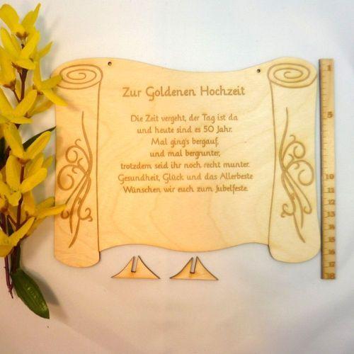 Goldene Hochzeit Geschenk Mit Passendem Spruch 50 Jahre Witzig Aber Romantisch