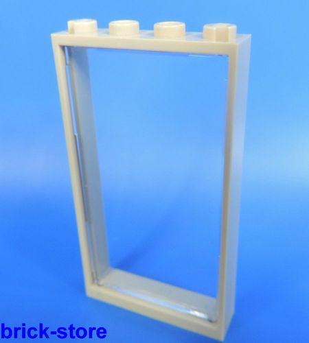 1x Lego Fenster Rahmen dunkel beige 1x2x3 Scheibe transparent 1x2x3 60593