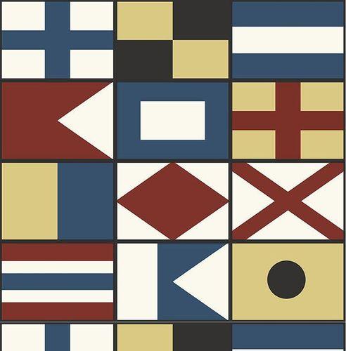 Tapete, Designtapete, Maritim, Flaggen, Retro, Rot