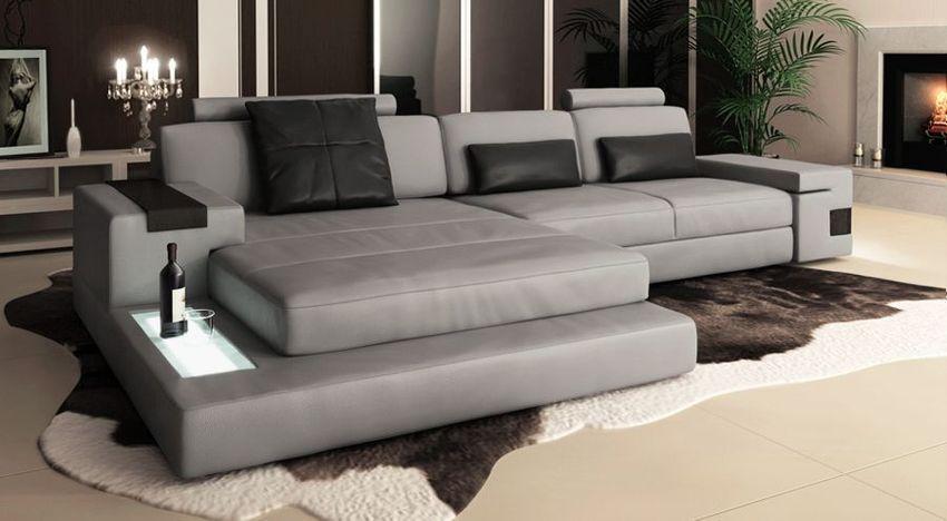 Ledersofa Wohnlandschaft Leder Design Sofa Couch L-Form ...