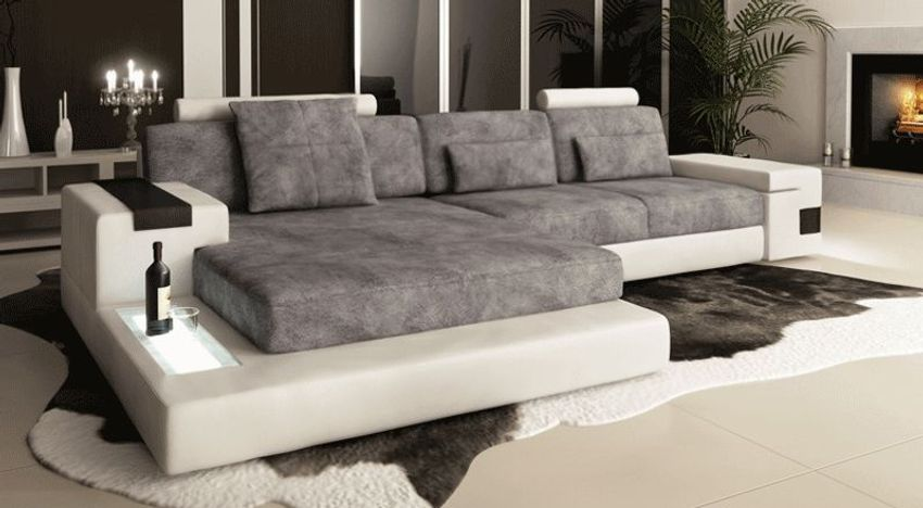 Leder Sofa Couch Wohnlandschaft Stoff L-Form Ecksofa ...