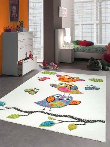 Kinderteppich Spielteppich Kinderzimmer Teppich niedliche Eulen mit  Konturenschnitt C