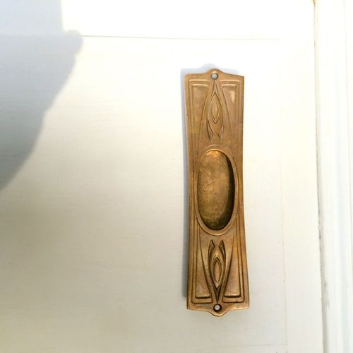 AHB Griffmuschel Villa Deco Artdeco Messing unlackiert Schiebetür Muschel Griff