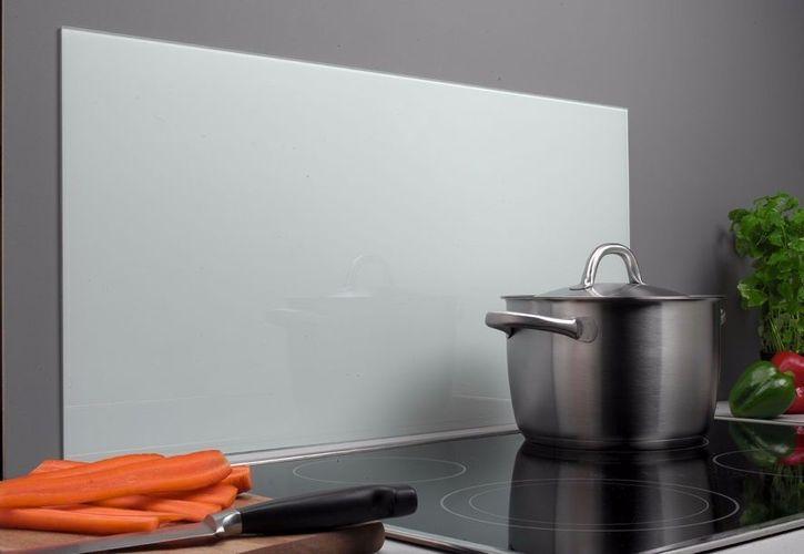Spritzschutz Glas 40 x 80 cm weiß Glasrückwand Küche Herd Wand Waschbecken  Bad
