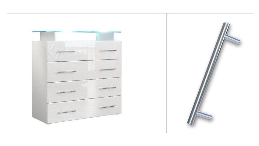 Hochglanz /& Naturtöne Kommode Schrank Anrichte Sideboard Pavos in Weiß