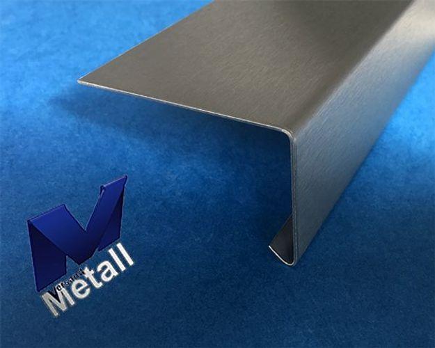 2,0m Edelstahlwinkel 60° mit Tropfkante L 2000mm 1.4301 AUSSEN Schliff K320