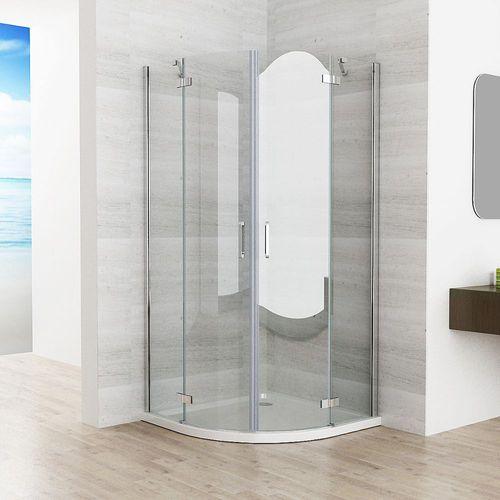 Duschkabine Runddusche Duschabtrennung Dusche Echtglas Viertelkreis 90x90  80x80 JAS