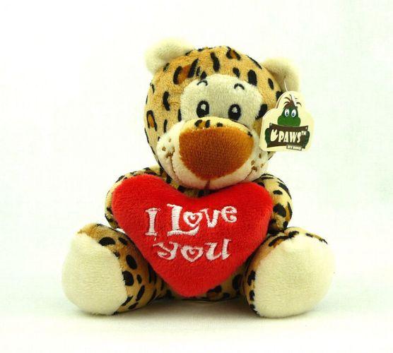 Kuscheltier mit Herz I Love You Liebestier Plüsch ca 15cm Leopard
