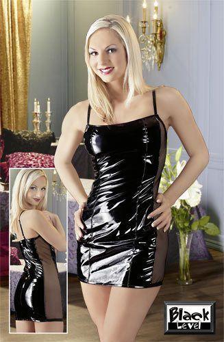 Sexy Lack Kleid Schwarz Netz Lackkleid Minikleid Netzkleid ...