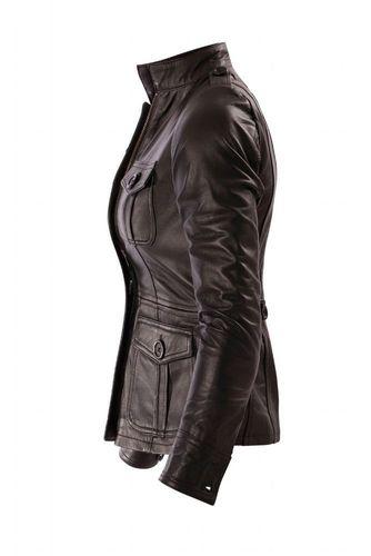 Damen Lederjacke Damenjacke Leder Schwarz Stehkragen Bangla
