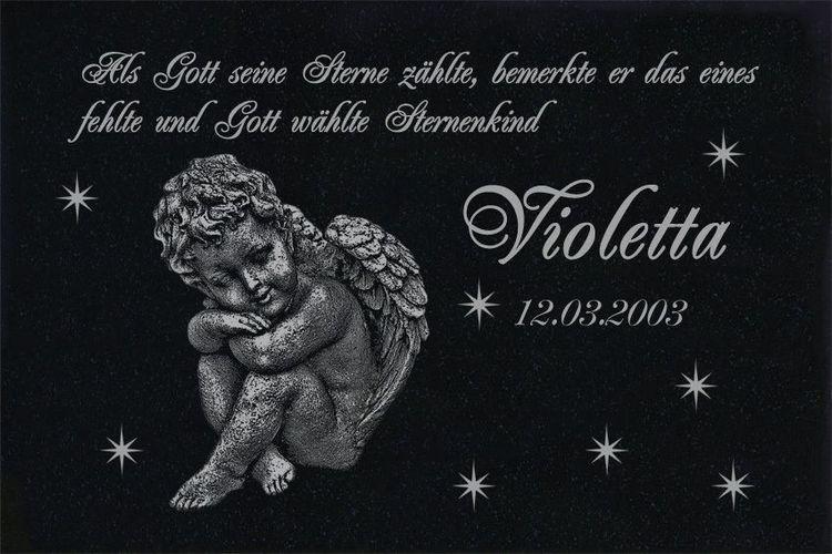 Sternenkind Grabstein Granit 30x20 cm Motiv Engel g12s Stütze Wunsch Gravur