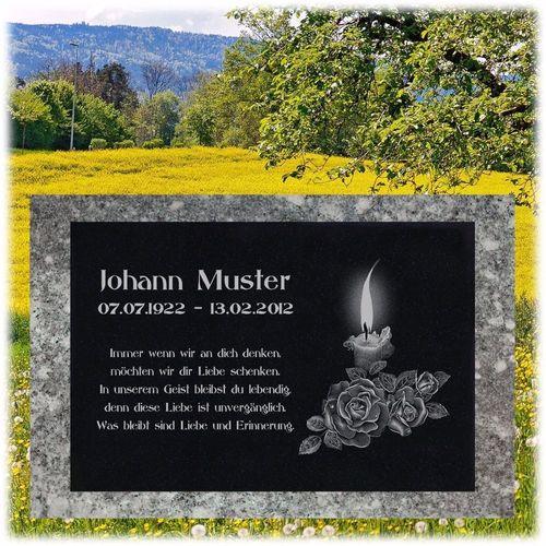 Grabstein Schiefer Stein Grab Tafel mit Rose-001 @ MIT IHREM TEXT @ 20 x 15 cm