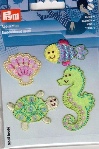 Unterwasserwelt Aufbügel Flicken Applikationen Aufnäher Patches 4 Stück Prym