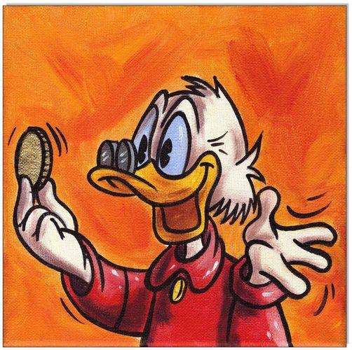 Original Acryl auf Leinwand und Keilrahmen Dagobert Ducks First Taler//20x20 cm