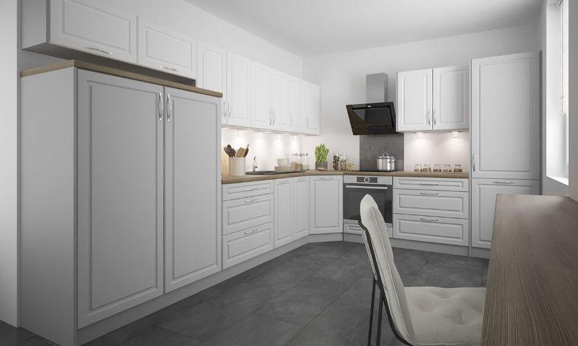 Küchenblock Küchenzeile Komplett Küche grau / weiß - light grey stone  15-tlg. Neu
