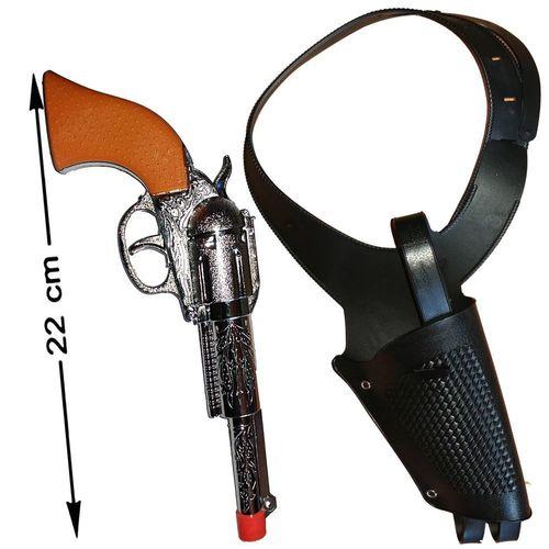 2 x Cowboy Set Colt Pistole 22 cm und schwarzes Halfter Fasching Party