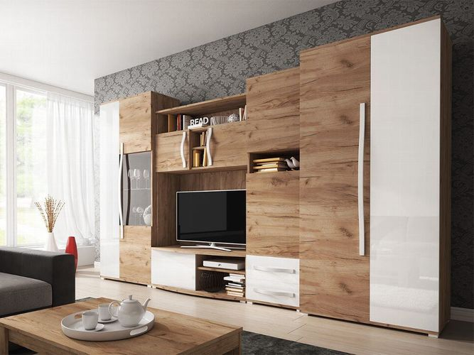Wohnwand Laura Wohnzimmer Anbauwand TV Lowboard Regal Schrank Modern Design  NEU