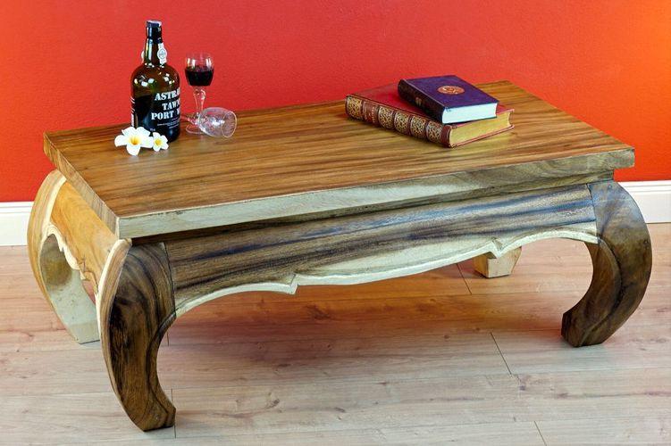 Couchtisch Holz Massiv 100 x 50cm Tisch Wohnzimmertisch Holztisch SUAR  Sofatisch