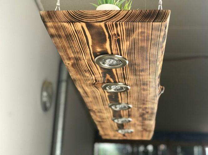 Holz Hängelampe Lärche geflammt rustikal 80cm - 150cm ...