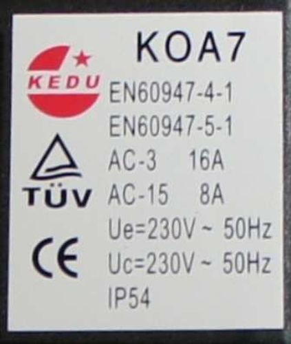 230V KEDU  KOA 7 Schalter passend für HECHT 822 Schalter für Wippkreissäge