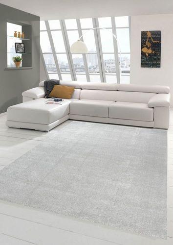 Wohnzimmer Teppich modern Kurzflor mit Uni Design in Silber