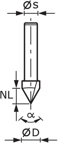 Festool V-nutfräser HW s8 d14//7//90 ° 490999