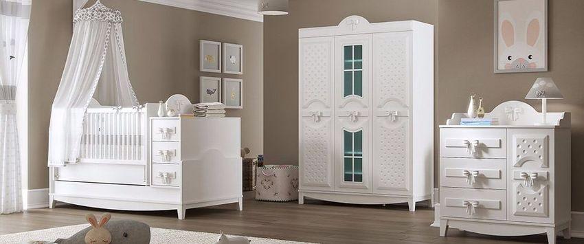 Babyzimmer komplett Set in Weiß Spotty 3-teilig