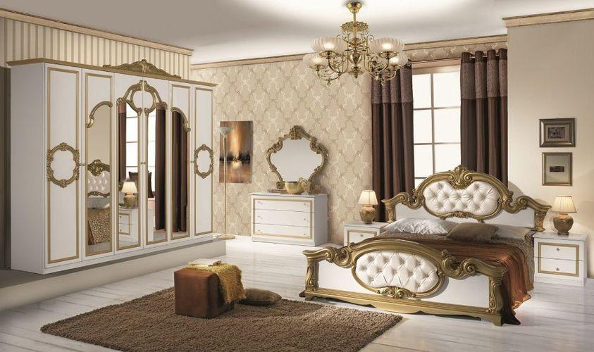 Schlafzimmer Set Barocco in Weiß Gold 180x200 cm / mit Schrank 4 türig /  mit Kommode