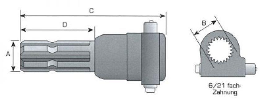 Zapfwellenverlängerung 1 3//8 Zoll Zapfwelle 6 Zähne 150mm lang Standard