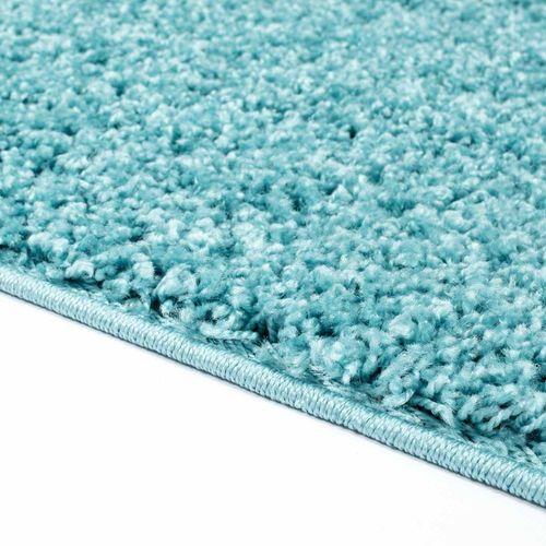 Uni-Shaggy Hochflor Teppich Einfarbig Blau Rund Und Rechteckig Öko Tex