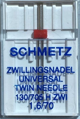 1 Schmetz Doppel Nähmaschinennadeln 70//1,6 Zwillingsnadel Flachkolben