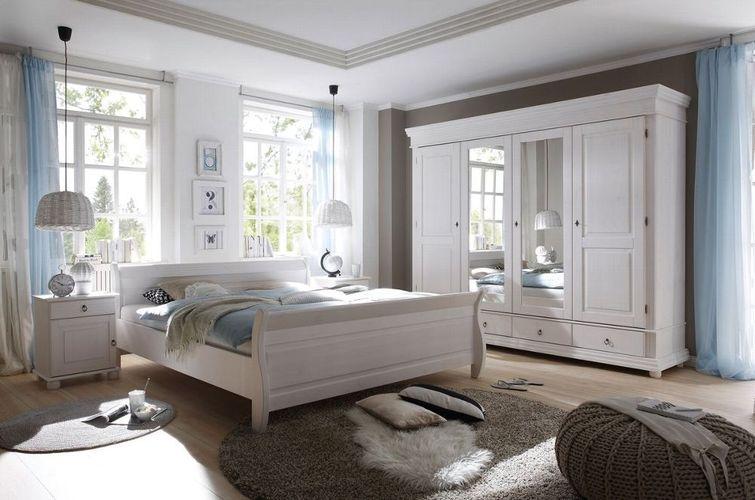 Schlafzimmer Set Kleiderschrank 4trg. Doppelbett 180x200 Nakos Kiefer  Landhaus