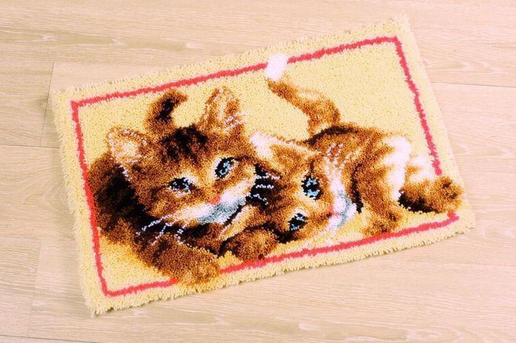 """Vervaco Knüpfteppichpackung /"""" Katzenfamilie/"""" bedruckt PN-0165638"""