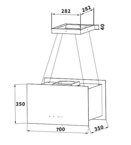 Filter Schneider Inselhaube Deckenhaube schwarz 70cm Umluftset Dunstabzugshaube
